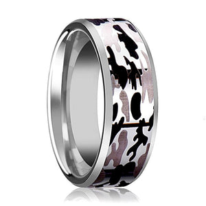 Tungsten Camo Ring - Black and Gray Camo  - Tungsten Wedding Band - Beveled - Polished Finish - 8mm - Tungsten Wedding Ring - AydinsJewelry