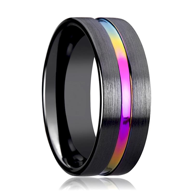 BRAVE Black Brushed Ceramic Couple Matching Ring with Rainbow Grooved in Center - 4MM - 8MM - Rings - Aydins_Jewelry