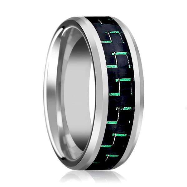 Aydins Mens Tungsten Wedding Band w/ Green Carbon Fiber Inlay Beveled Edges 9mm Tungsten Carbide Ring - AydinsJewelry