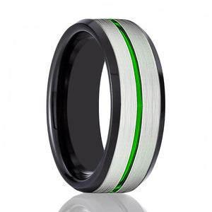 NITRO Men's Tungsten Wedding Band with Green Grooved in Silver Brushed Center