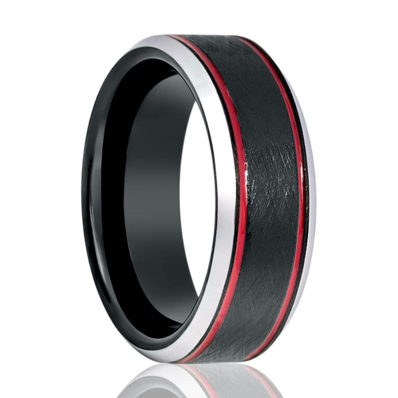 Black Wire Brushed Men's Tungsten Wedding Band with Double Red Off Set Groove & Silver Beveled Edges - 8MM - Rings - Aydins_Jewelry
