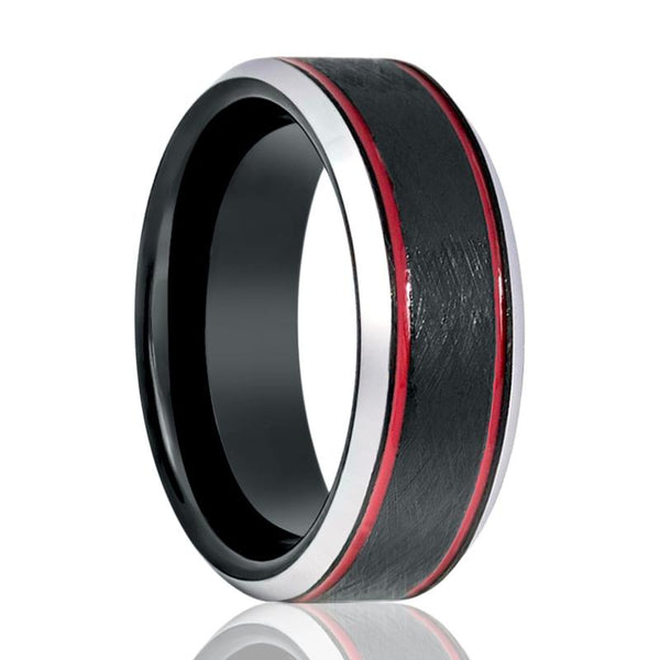 69b0b3d8f28b Tungsten Mens Wedding Band Black Wire Brushed w  Double Red Groove Silver  Polished Beveled Edges 8mm Tungsten Carbide Ring