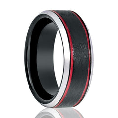 Aydins Tungsten Mens Wedding Band Black Wire Brushed w/ Double Red Groove Silver Polished Beveled Edges 8mm Tungsten Carbide Ring - AydinsJewelry