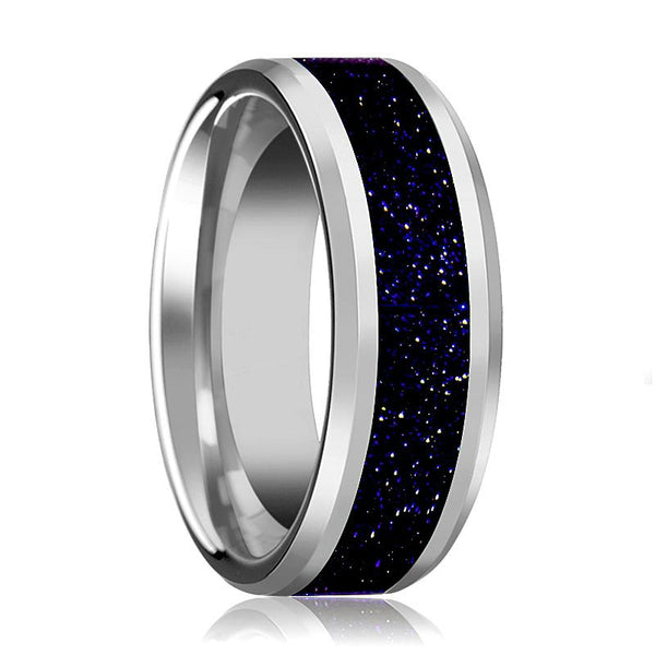 Tungsten Purple Goldstone Inlay - Tungsten Wedding Band - Beveled - Polished Finish - 8mm - Tungsten Wedding Ring - AydinsJewelry