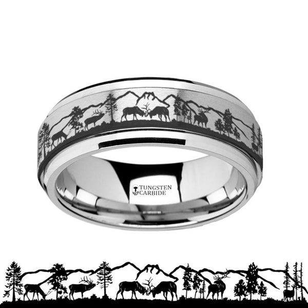Animal Landscape Scene - Deer Stag Mountain Range - Spinning Tungsten Ring - Spinner Laser Engraved  - Tungsten Carbide Wedding Band - 8mm - AydinsJewelry