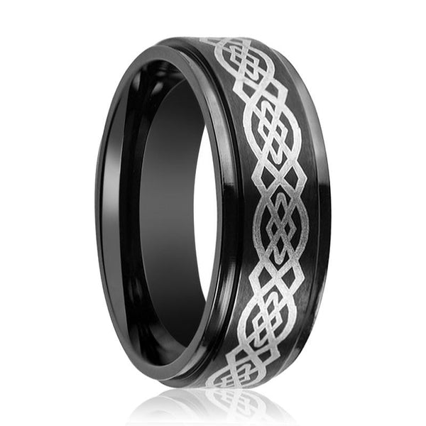 Aydins Tungsten Carbide Mens Band Black Celtic Knot Design Engraved Center Stepped Edge 7mm, 9mm Tungsten Wedding Ring - AydinsJewelry