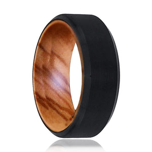 LOTEC Tungsten Olive Wood Ring--Men's Wedding Band - Rings - Aydins_Jewelry