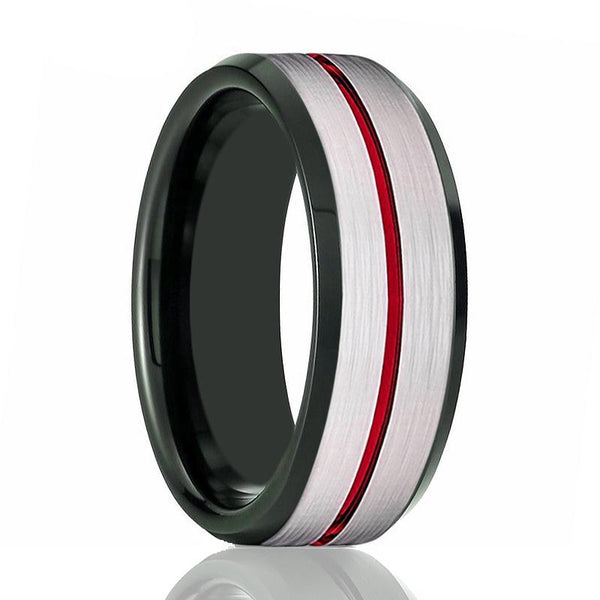SCORCH Red Grooved Tungsten Carbide Ring