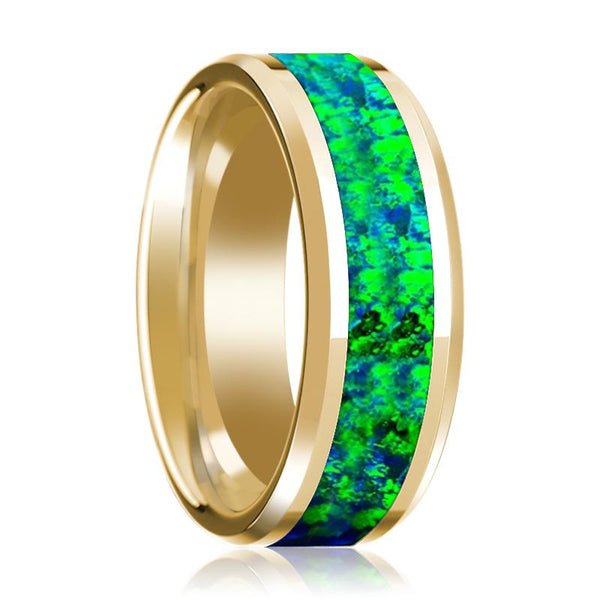 14K Yellow Gold Wedding Band with Emerald Green and Sapphire Blue Opal Inlay Beveled Edges - AydinsJewelry