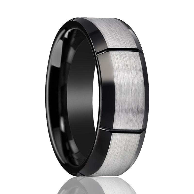 Aydins Tungsten Ring Two-tone w/ Multiple Brushed Vertical Grooves Wedding Band 8mm Tungsten Carbide Wedding Ring - Rings - Aydins_Jewelry