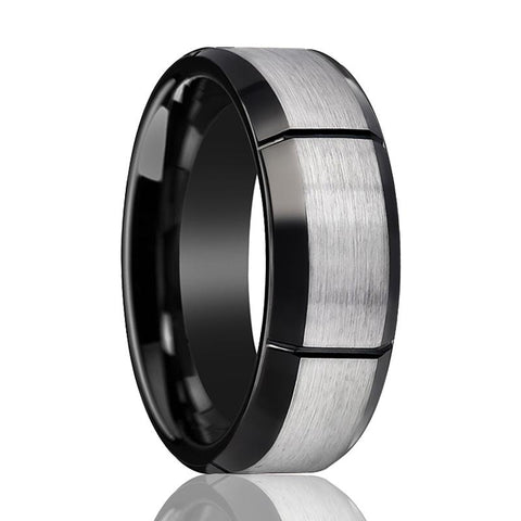 Image of Aydins Tungsten Ring Two-tone w/ Multiple Brushed Vertical Grooves Wedding Band 8mm Tungsten Carbide Wedding Ring - Rings - Aydins_Jewelry