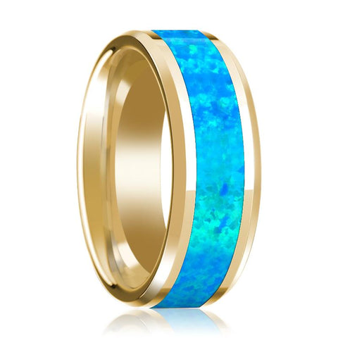 Image of Blue Opal Inlay Beveled Edge Mens Wedding Band 14K Yellow Gold Polished Design - Rings - Aydins_Jewelry