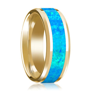 Blue Opal Inlay Beveled Edge Mens Wedding Band 14K Yellow Gold Polished Design - Rings - Aydins_Jewelry