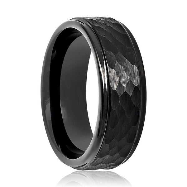 Aydins Tungsten Carbide Mens Band Black Hammered Stepped Edge 6mm, 8mm Tungsten Wedding Ring - AydinsJewelry