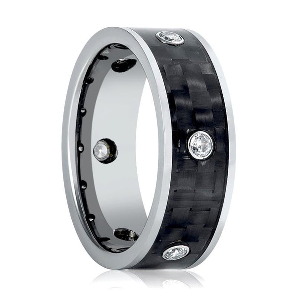 Aydins Mens Tungsten Wedding Band Carbon Fiber Inlay w/ 6 White CZ Stones 8mm Tungsten Carbide Ring - AydinsJewelry