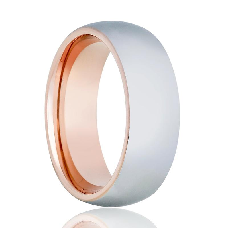 Aydins Rose Gold Tungsten Shiny Silver Ring 8mm Domed Tungsten Carbide Wedding Band - Rings - Aydins_Jewelry
