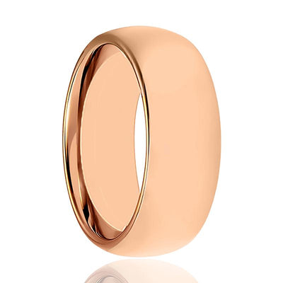 Aydins Rose Gold Tungsten Mens & Womens Ring Shiny 2mm, 5mm, 7mm Domed Tungsten Carbide Wedding Band - AydinsJewelry