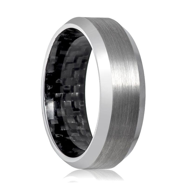 Aydins Tungsten Wedding Band Silver Brushed Beveled Carbon Fiber Inside the Band Tungsten Carbide - AydinsJewelry