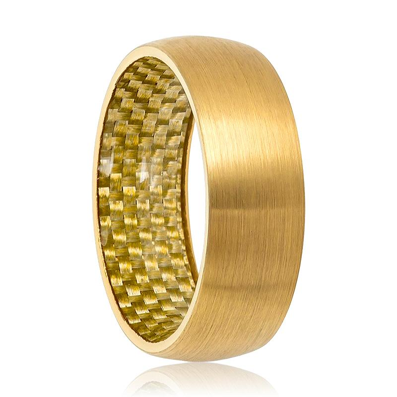 Gold Tungsten Ring Brushed Wedding Band with Carbon Fiber Inlay - Rings - Aydins_Jewelry