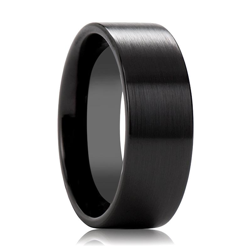 ETHAN Pipe Cut Unisex Flat Black Ceramic Wedding Band Brushed Finish - 4MM to 12MM - Rings - Aydins_Jewelry