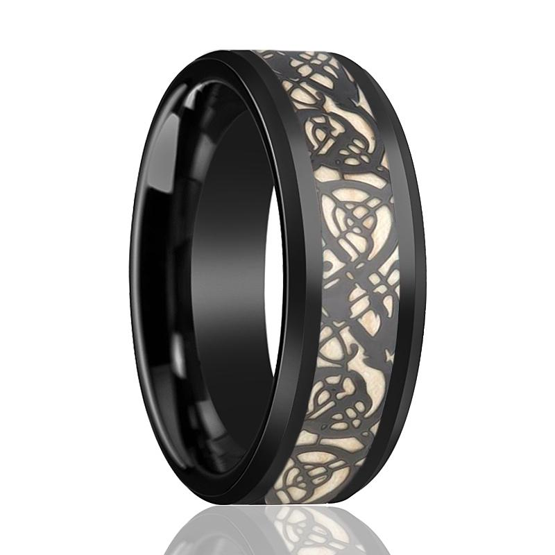 Celtic Design Cutout Inlaid Men's Black Tungsten Wedding Band with Polished Beveled Edges - 8MM - Rings - Aydins_Jewelry