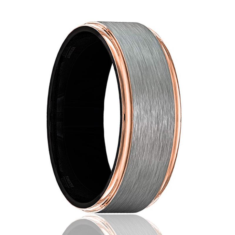 GOLIATH Gray Tungsten Wedding Band for Men with Rose Gold Stepped Edges and Black Interior - 8MM - Rings - Aydins_Jewelry