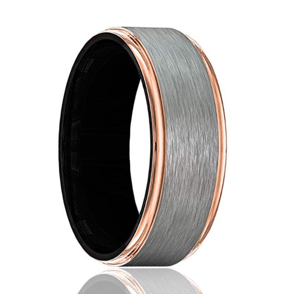 GOLIATH Rose Gold Edges Tungsten Wedding Band Gray Brushed Black Inside - AydinsJewelry