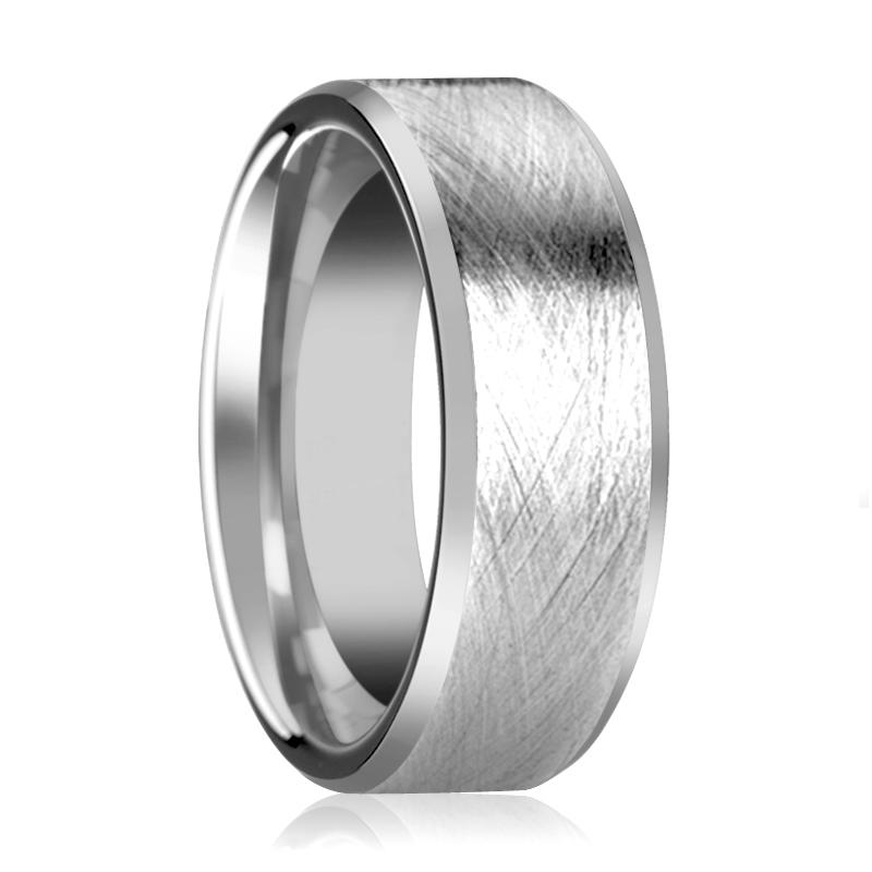 Tungsten Carbide Wedding Ring with Wire Brushed Finish and Beveled Edges 6mm, 8mm