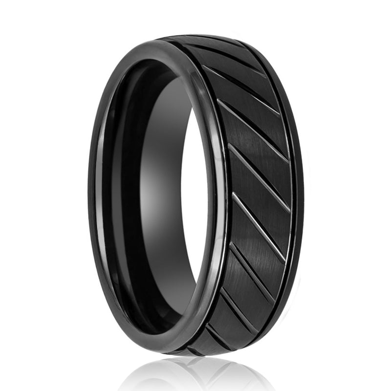Black Wedding Ring with Grooved Stepped Edges at the Ring.