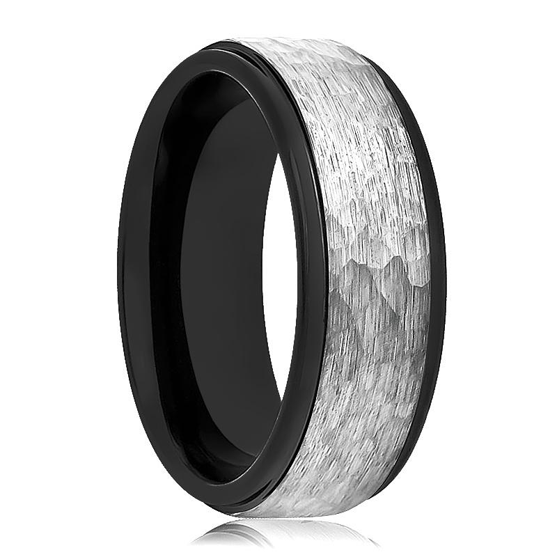 Black Tungsten Couple Matching Wedding Ring with Grey Hammered Center & Step Edges - Rings - Aydins_Jewelry