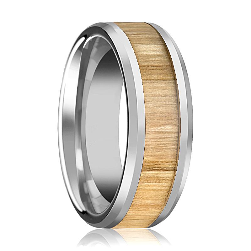Tungsten Wood Ring - Ash Wood  - Tungsten Wedding Band - Polished Finish - 6mm - 8mm - 10mm - Tungsten Wedding Ring - AydinsJewelry