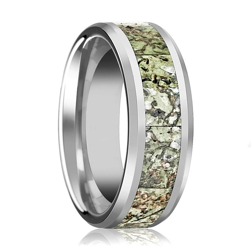 BYTE Men's Silver Tungsten Wedding Band with Light Green Dinosaur Bone Inlay & Bevels - 8MM - Rings - Aydins_Jewelry