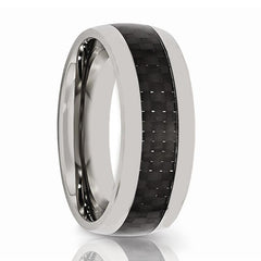 Aydins Mens Tungsten Wedding Band w/ Black Carbon Fiber Inlay Domed 8mm Tungsten Carbide Ring - AydinsJewelry