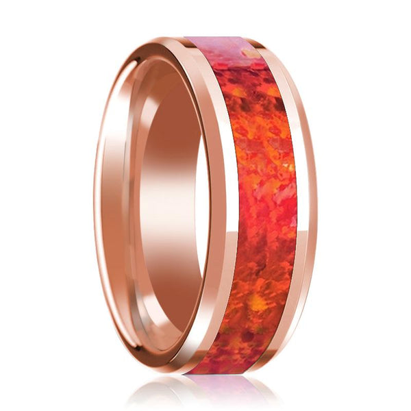 Red Opal Inlay Beveled Edge Mens Wedding Band 14K Rose Gold Polished Design