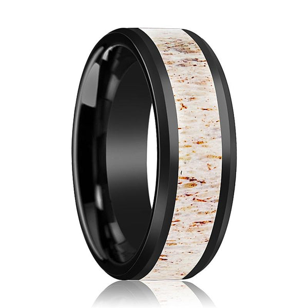 Black Ceramic Ring - Off White Antler Inlay - Ceramic Wedding Band - Beveled - Polished Finish - 8mm - Ceramic Wedding Ring - AydinsJewelry