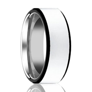 Aydins Mens Tungsten Wedding Band Polished Center w/ Black Edges 8mm Tungsten Carbide Ring - Rings - Aydins_Jewelry