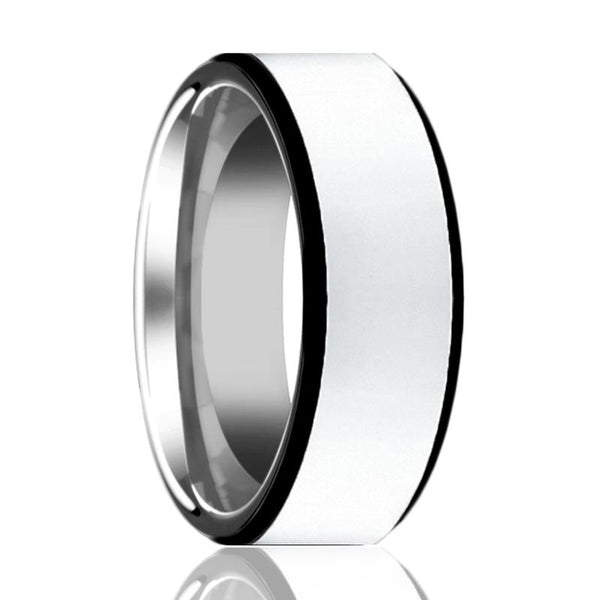 Aydins Mens Tungsten Wedding Band Polished Center w/ Black Edges 8mm Tungsten Carbide Ring - AydinsJewelry