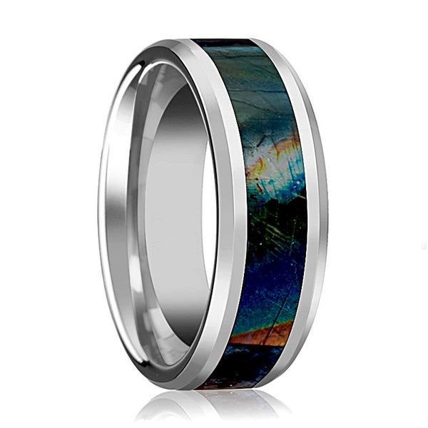 Tungsten Wedding Band Spectrolite Inlay Mens Tungsten Ring Beveled Polished Finish Tungsten Carbide