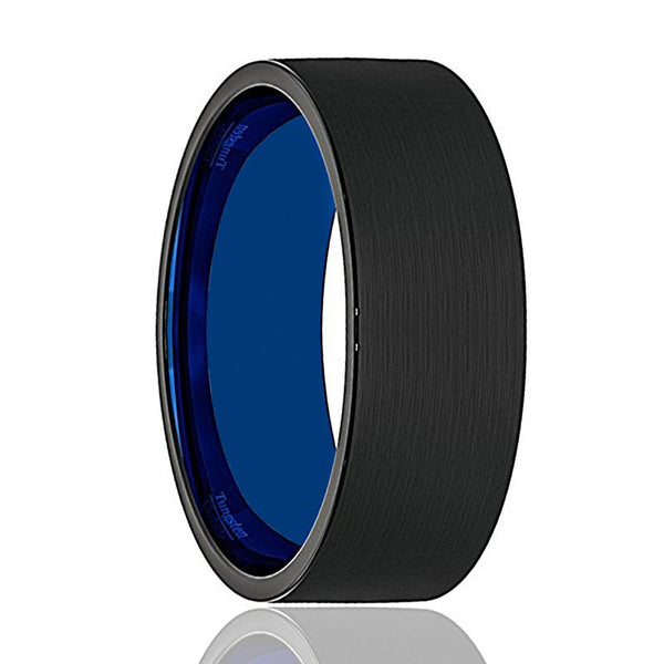 Mens Wedding Band - Tungsten Wedding Band - Black Tungsten Brushed - Thin Side Blue Groove Cubic Zircon Flat Edge - Man Tungsten Ring - 8mm - AydinsJewelry