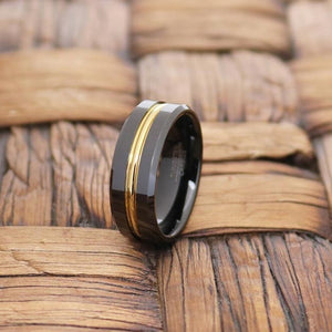 CHIEF Black Polished Tungsten Men's Wedding Band With Gold Groove in Center - 8MM