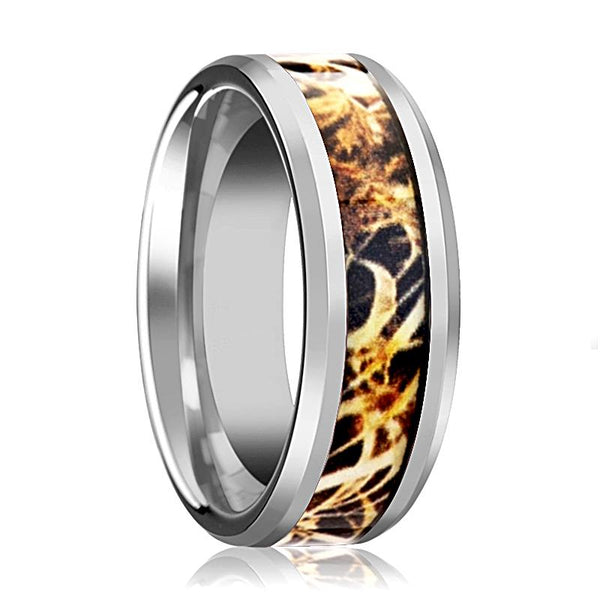 Camo Wedding Band - Silver Tungsten - Leaves Grassland - Tungsten Wedding Band - Beveled - Polished Finish - 8mm - Tungsten Wedding Ring - AydinsJewelry