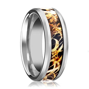 Camo Wedding Band - Silver Tungsten - Leaves Grassland - Tungsten Wedding Band - Beveled - Polished Finish - 8mm - Tungsten Wedding Ring - Rings - Aydins_Jewelry