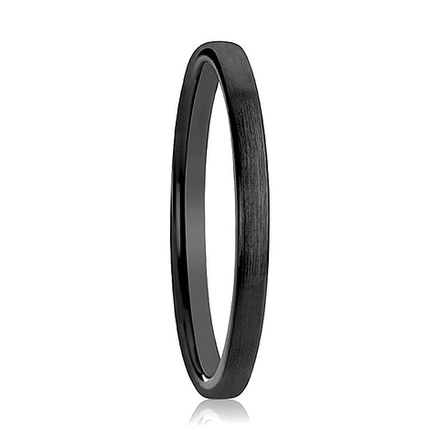 Image of ABIGAIL Domed Black Ceramic Wedding Band for Women with Polished Finish - 2MM - Rings - Aydins_Jewelry