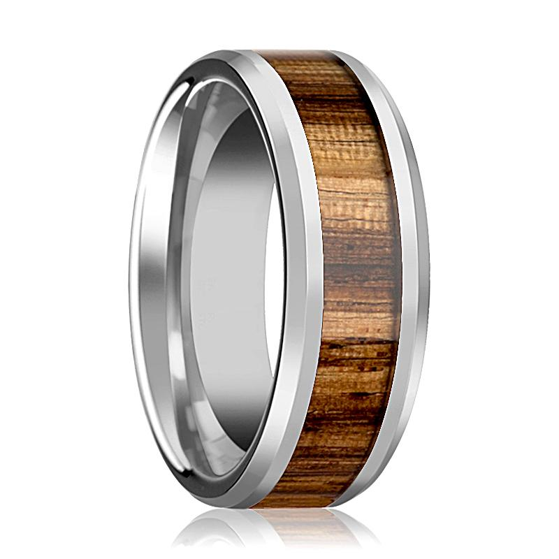 Tungsten Wood Ring - Zebra Wood Inlay - Tungsten Wedding Band - Polished Finish - 4mm - 6mm - 7mm - 8mm - 10mm - Tungsten Wedding Ring - AydinsJewelry