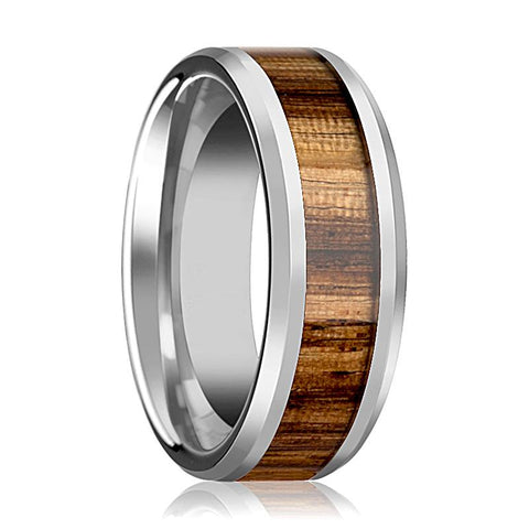 Image of Tungsten Wood Ring - Zebra Wood Inlay - Tungsten Wedding Band - Polished Finish - 4mm - 6mm - 7mm - 8mm - 10mm - Tungsten Wedding Ring - AydinsJewelry