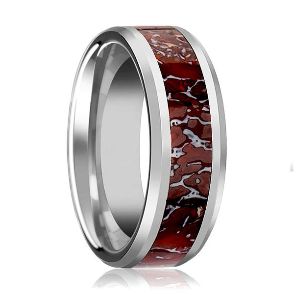 Dinosaur Bone Ring - Red Dinosaur Bone Inlay - Tungsten Wedding Band - Beveled - Polished Finish - 4mm - 8mm - Tungsten Wedding Ring - AydinsJewelry