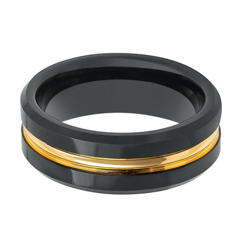 Image of CHIEF Black Polished Tungsten Men's Wedding Band With Gold Groove in Center - 8MM