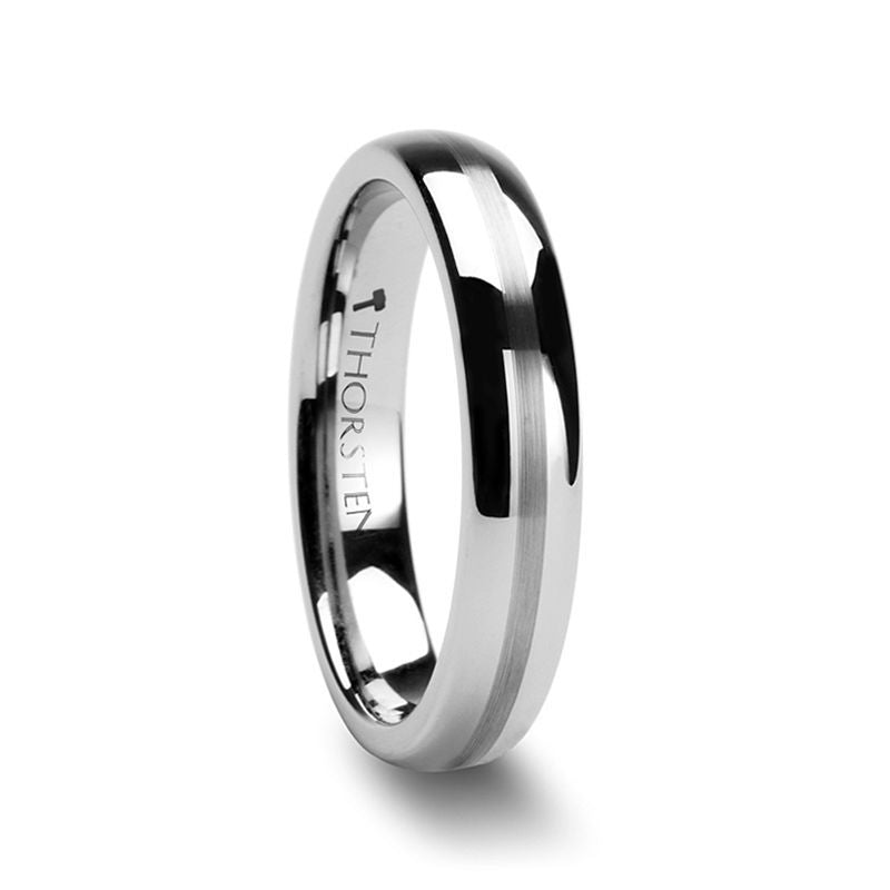 BELLATOR Domed with Brushed Stripe Tungsten Wedding Ring - 4mm - 8mm