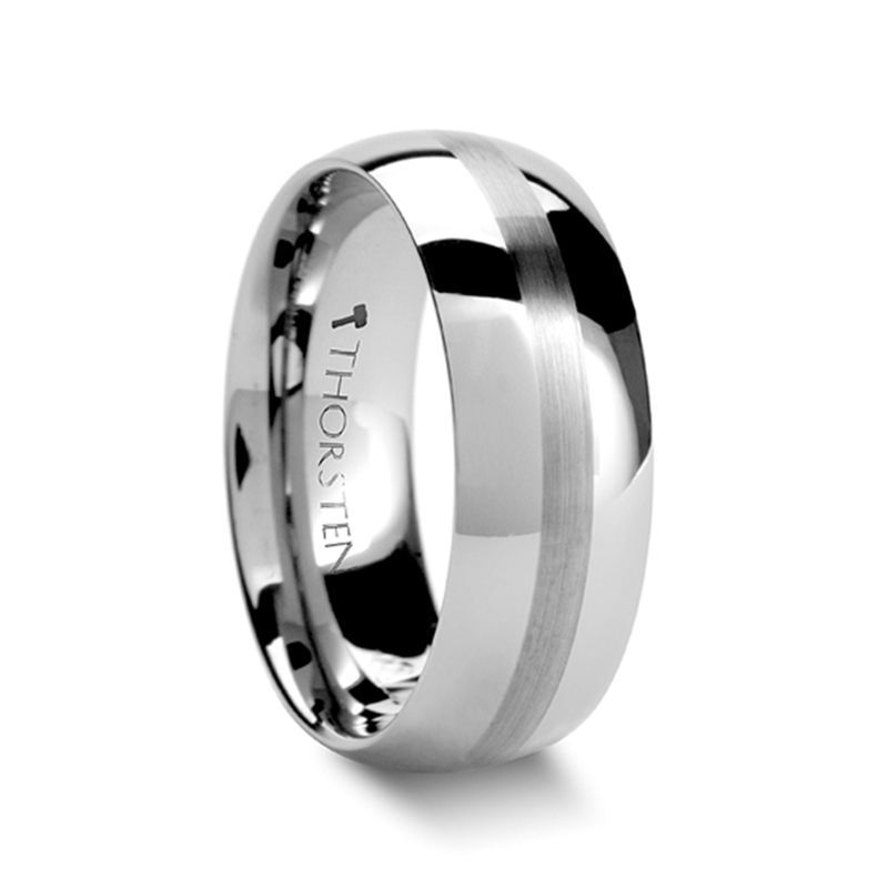 BELLATOR Domed with Brushed Stripe Tungsten Wedding Ring - 10mm - 12mm