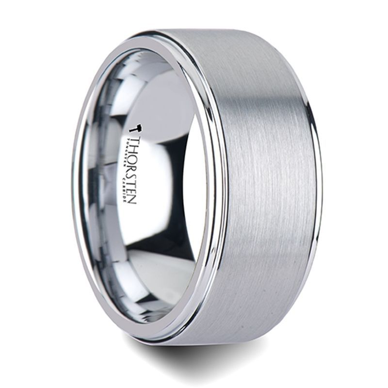 OPTIMUS Raised Center with Brush Finish Tungsten Ring - 10mm - 12mm